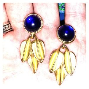 🍁 Vintage Art Deco Big Round Blue Stone&Brass 🍁